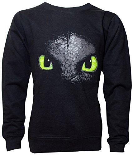 Dragons DreamWorks Kinder Sweatshirt Ohnezahn Toothless, 104 bis 158, schwarz (140/146)
