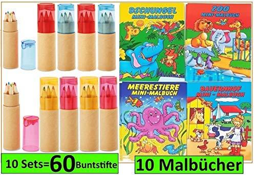 Libetui Buntstifte 10 Sets mit Spitzer für Kinderparty Kinderbeschäftigung Zuhause Hort Kita Hochzeit...