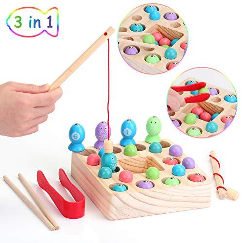EKKONG Holzspielzeug 3 in 1 Angelspiel, Fische Puzzle Angelspiel Magnetisch Holz Montessori...