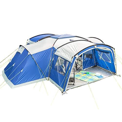 skandika Familienzelt Nimbus für 12 Personen Protect | Campingzelt mit 3 Schlafkabinen, eingenähter...