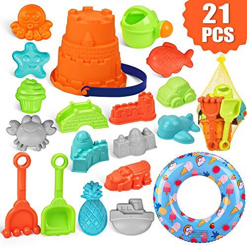 balnore Kinder 21 Stück Strand Sandspielzeug Set mit Schwimmring Sandkasten Spielzeug Set Sandspielset...