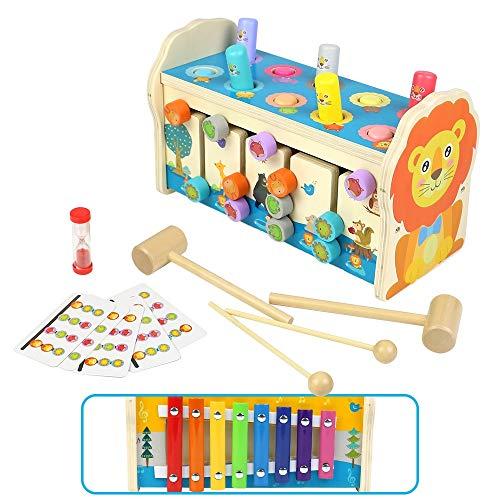 Symiu Hammerspiel Montessori Spielzeug Holzspielzeug Baby 3 IN 1 Kinder Spielzeug Xylophon Labyrinth mit...