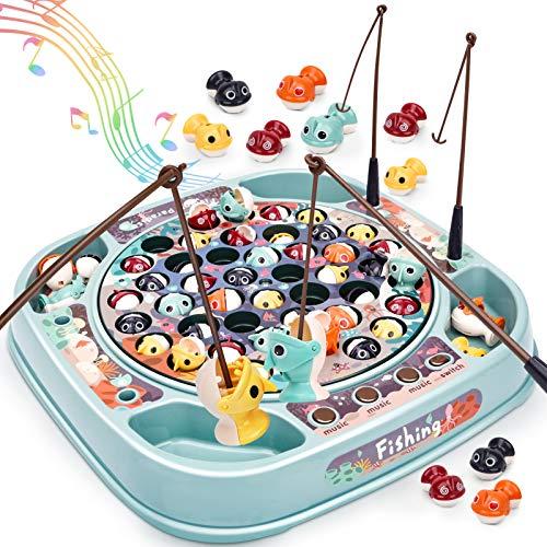 Dreamon Angelspiel Fisch Spielzeug für Kinder Mehrfarbiger Fisch Musikalisches Angelset Spielzeug...
