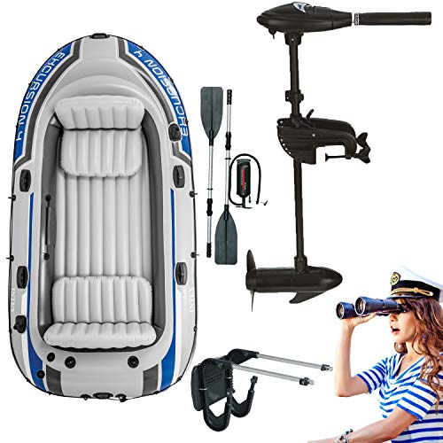 Intex motor boat inflatable boat with outboard motor + transom + paddle, pump set for 4 people ...