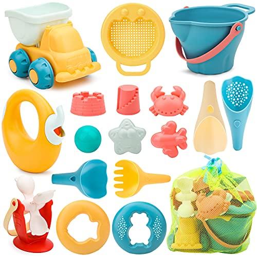 17 Stück Strand Sandspielzeug Set mit Wasserrad, Strandbuggy, Eimer, Netzbeutel, Sandformen, Weichem...