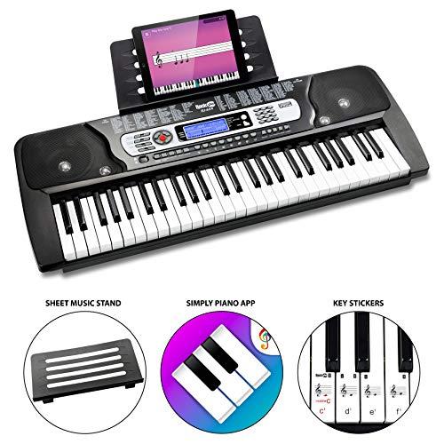 RockJam 54-Tasten-Tastatur Klavier mit Klaviernote Aufkleber Stromversorgung Notenständer und einfach...