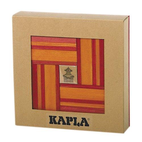 KAPLA RL+RP Holzplättchen, 40er Box, 20 rot und 20 orange + Buch