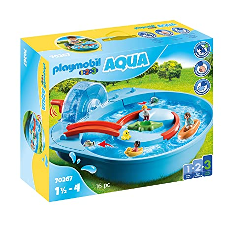 Playmobil 1.2.3 Aqua 70267 Fröhliche Wasserbahn mit bunten Tieren, niedlichen Figuren und verschiedener...