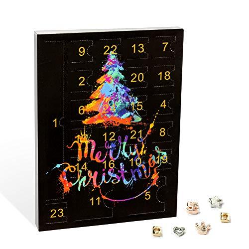 VALIOSA Merry Christmas Mode-Schmuck Adventskalender mit 1 Kette, 3 Armbänder, 20 Charms, das besondere...