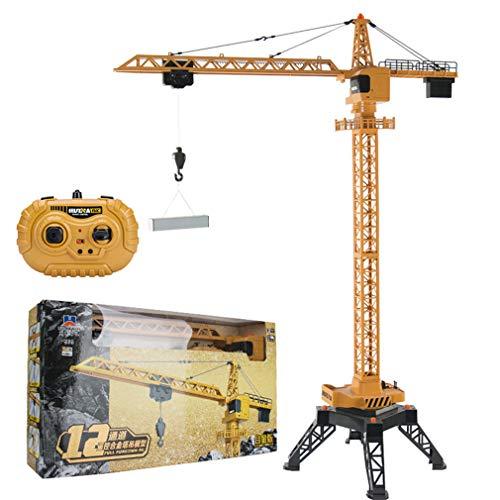 W-star RC Baumaschinen 125 cm hoher Turmdrehkran mit 12-Kanal-Funksteuerung, Druckguss-LKW, unbegrenzter...