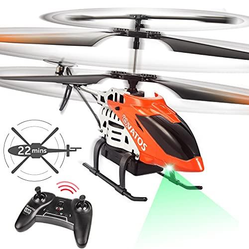 VATOS RC Hubschrauber - 22 Minuten Fliegen Ferngesteuerter Hubschrauber mit LED-Licht - 2,4 GHz & 3,5...