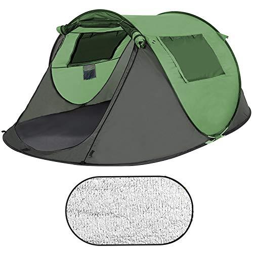 Sportout Pop Up Zelt, Ultraleichte 3 bis 5 Personen Camp Wurfzelt, Doppeltür mit Netz, Großer Raum...