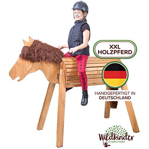 Wildkinder Holzpferd für Draußen - Spielpferd zum Reiten - Fördert Kreativität, Fantasie, Motorik -...