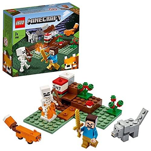 Lego 21162 Minecraft Das Taiga-Abenteuer Bauset mit Figuren: Steve, Wolf und Fuchs, Spielzeug für Kinder...