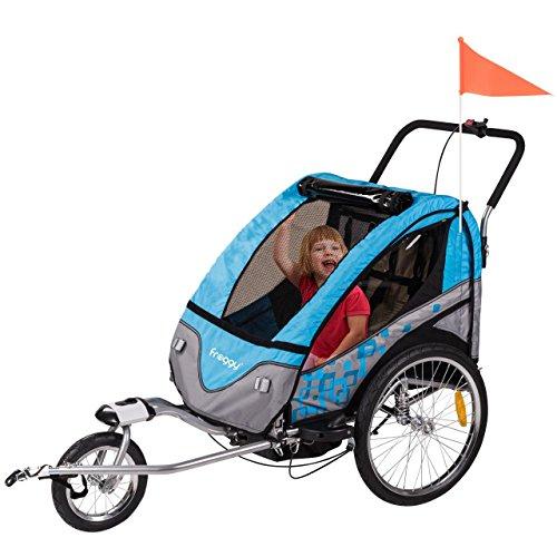FROGGY Kinder Fahrradanhänger 360° Drehbar mit Federung + Joggerfunktion + 5-Punkt Sicherheitsgurt,...