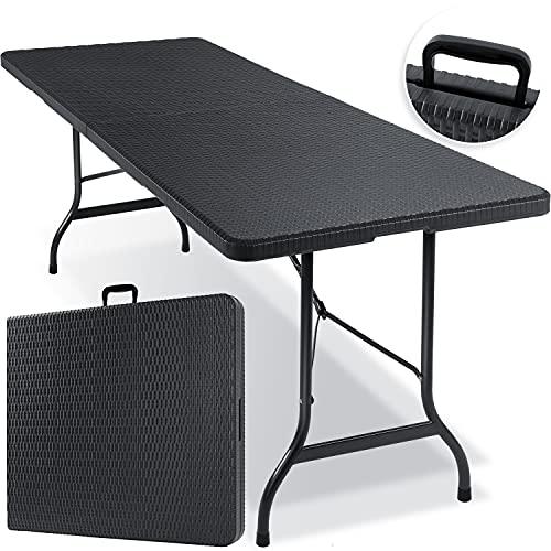 KESSER® Buffettisch Tisch klappbar Kunststoff 180x75 cm Rattan Optik Campingtisch Partytisch Klapptisch...