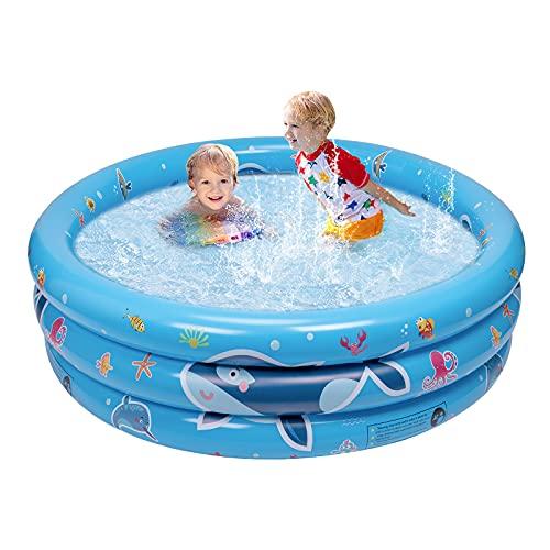 balnore Planschbecken, 3 Ringen Planschbecken für Kinder 120 x 45 x 18cm Kinderpool Schwimmbad Kinder...