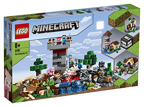 LEGO 21161 Minecraft Die Crafting-Box 3.0 2-in-1 Set Schloss oder Farm mit Figuren: Steve, Alex und...