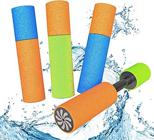 LISOPO 4er Set Wasserpistole Wasserspritze Mini Schaumstoff Spritzpistole für Kinder