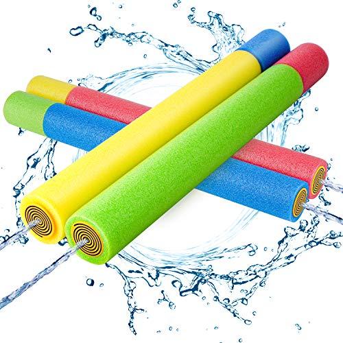 Kiztoys Wasserpistole Spielzeug Kinder Set 4 Stück Pool Wasserspritzpistolen mit Reichweite 35 Feet...