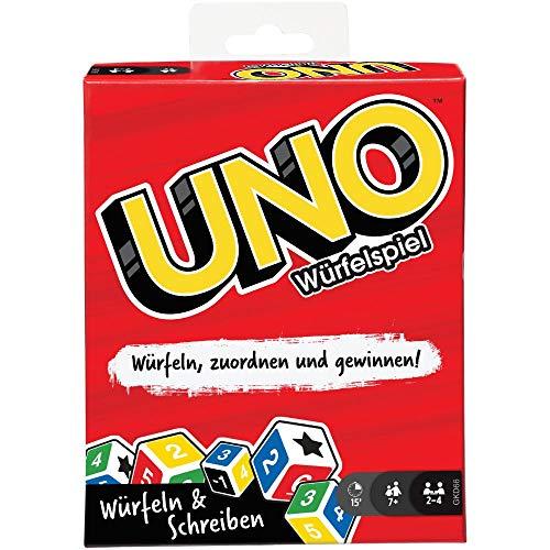 Mattel Games GKD66 - UNO Würfelspiel für die ganze Familie, mit Trockenlöschtafeln und Markern, für...