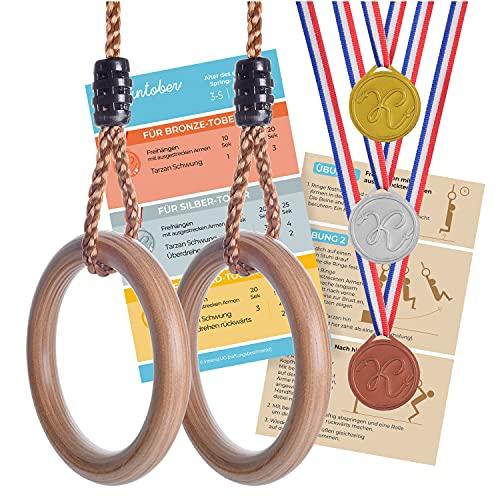 Kleintober Premium Holz Turnringe für Kinder & Erwachsene, Outdoor & Indoor, Ringe mit verstellbare...