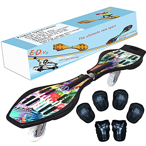 EiDevo Waveboard, Double Wheel Scooter Caster Board mit LED-Aurora Leuchtet Wave Board...