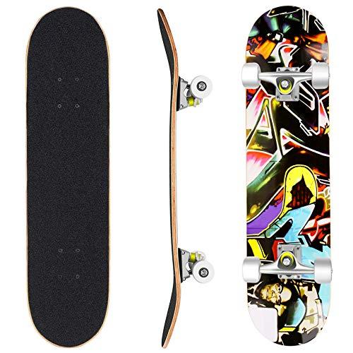 WeSkate Skateboard Komplett Board 79x20cm Holzboard ABEC-7 Kugellager 31 Zoll 7-lagigem Ahornholz, 90A...