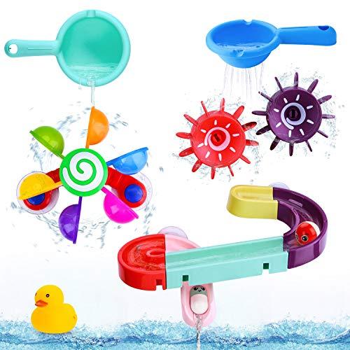 BBLIKE Baby Badespielzeug Set, Kinder Wassermühle Badewannenspielzeug mit BAU-Puzzle Autorennbahn...