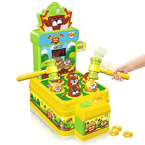 VATOS Whack Spiel,Schlag den Maulwurf,elektronisches Mini Arcade Spielzeug,Münzspiel mit 2...