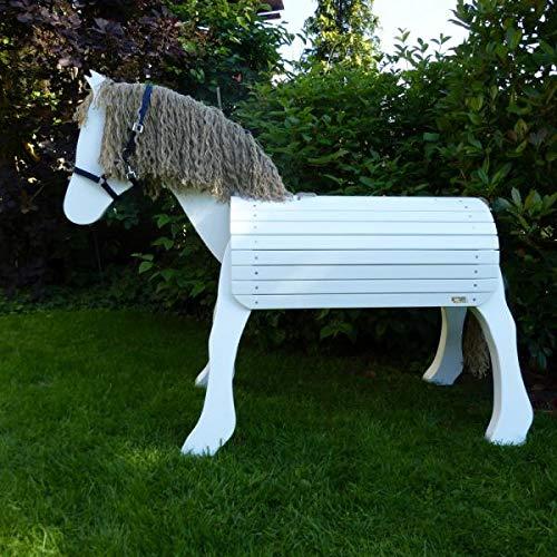 Weißes Voltigierpferd | Kleiner Onkel | Holzpferd | Spielpferd 7033