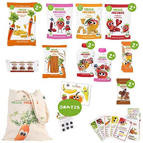 Freche Freunde Reise-Paket für lange Reisen mit Kindern, Bio Kindersnacks für Kinder aus Obst &...