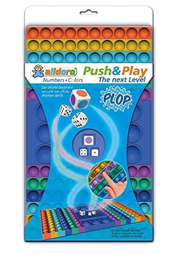 alldoro 63071 Push & Play The Next Level Zahlen und Farben Würfelspiel, Pop it Brettspiel, Bubble Push...