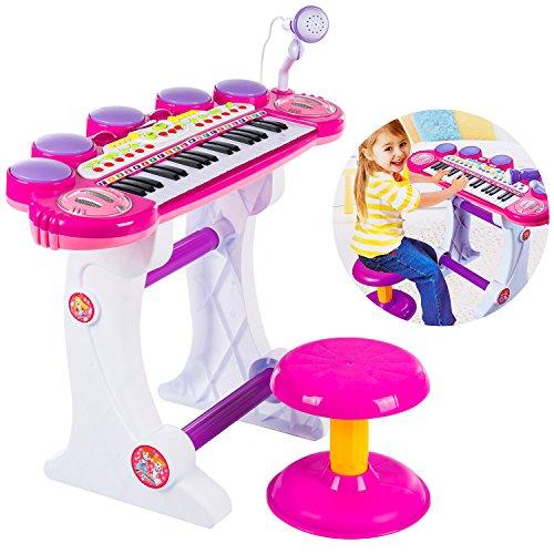 Piano mit Mikrofon und Hocker Piano Kinderpiano Keyboard Spielzeug Klavier KP8285 Musikinstrument...