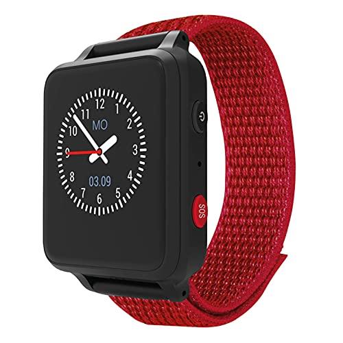 ANIO 5 (rot) - Telefon Uhr für Kinder - Anrufe, Nachrichten, Schulmodus, SOS Funktion, GPS,...