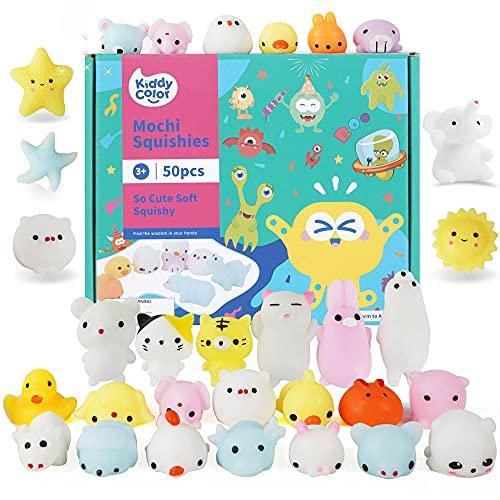 KIDDYCOLOR 50 Stück Mochi Squishy Toys Kawaii Animal Soft Squeeze Spielzeug für Kinder Stressabbau...
