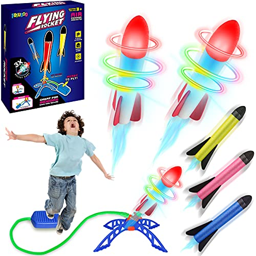 FOSUBOO 6x Rakete Spielzeug Geschenk für Kinder ab 3 4 5 6 7 Jahre Junge Mädchen Outdoor Spiele...