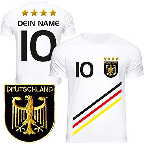 DE FANSHOP Deutschland Trikot mit GRATIS Wunschname + Nummer #D3 2021 2022 EM/WM weiß - Geschenk für...