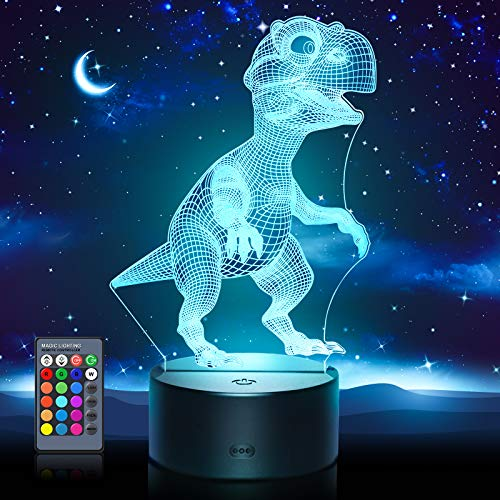 Hotifts Dino Spielzeug 2 3 4 5 6 7 8 9 10 Jahre Junge,Nachtlicht Baby Spielzeug ab 2-6 Jahre 3D Lampe...