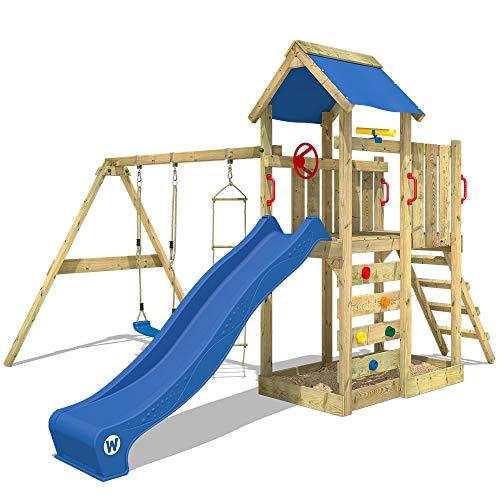 WICKEY Spielturm MultiFlyer - Klettergerüst mit Schaukel, Strickleiter, Kletterwand und -leiter, blauer...