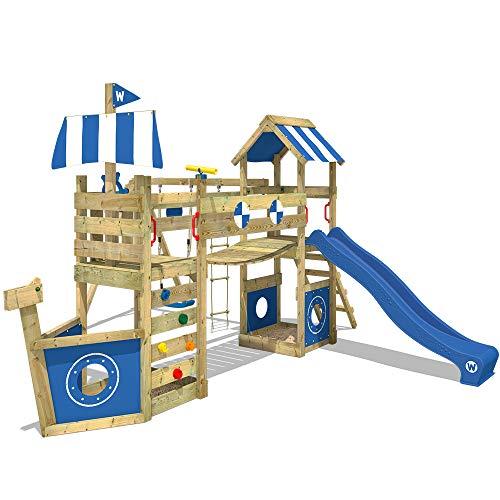 WICKEY Spielturm Klettergerüst StormFlyer mit Schaukel & blauer Rutsche, Baumhaus mit Sandkasten,...