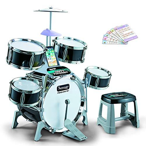 Haunen Schlagzeugset für Kinder, Schlagzeug Kinder Musik Instrumente Spielzeug mit 5 Trommeln und...