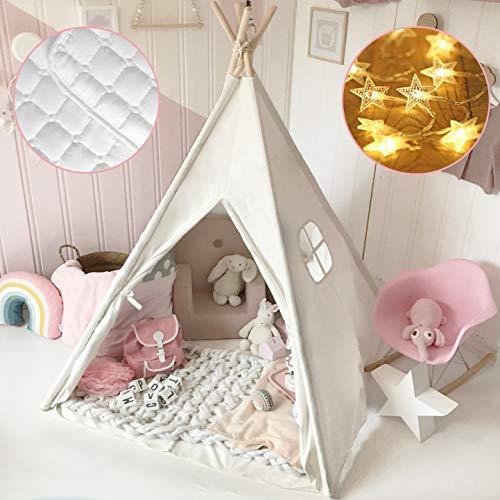 Tiny Land Tipi Spielzelt für Kinder mit Gepolsterter Decke & Lichterkette & Aufbewahrungstasche...