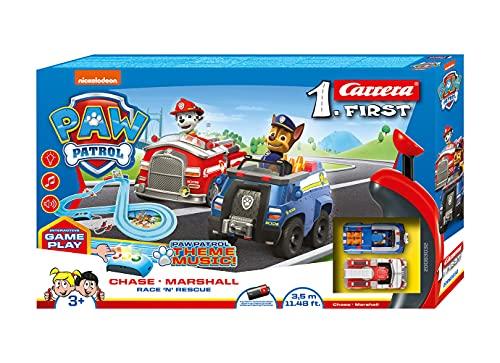 Carrera FIRST PAW PATROL Race 'N' Rescue 2,4m Rennstrecken-Set | 2 ferngesteuerte Fahrzeuge mit Chase und...