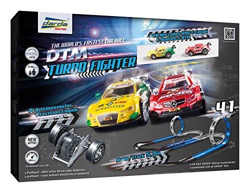 Darda 50244 Rennbahn Set Turbo Fighter, Autorennbahn Autos, Rennstrecke ca. 5,3 m, mit 2 Loopings, 2...