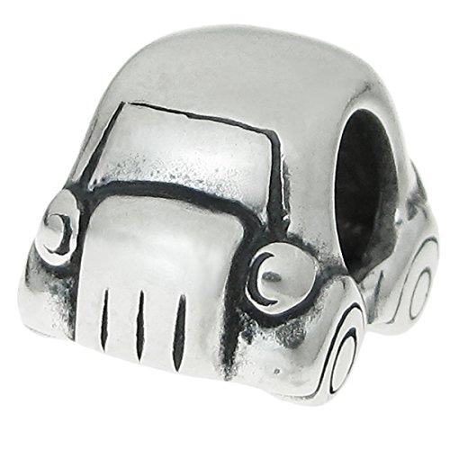 Charm-Anhänger in Form eines Spielzeug-Autos, im Stil eines VW Beetle, 925er Sterlingsilber, für...