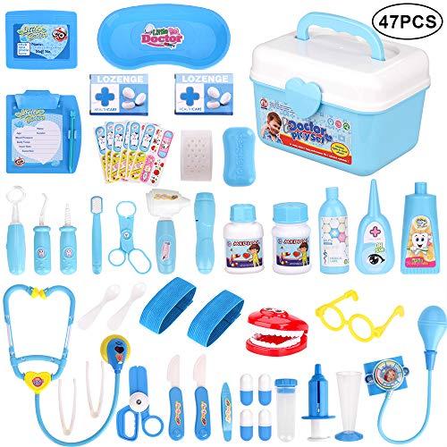 Faburo 47 Stück Arztkoffer Kinder Medizinisches Spielzeug Doktor Set Lernspielzeug Rollenspiel Arzt...