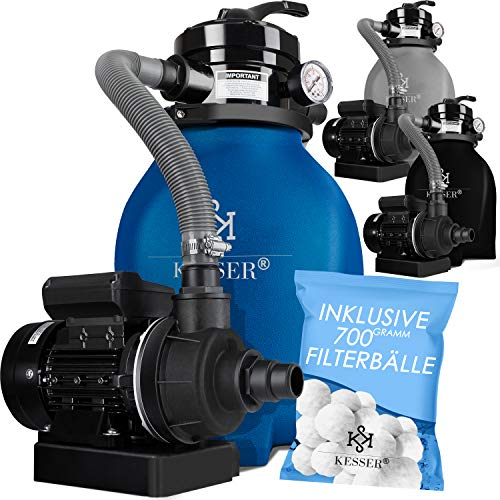 KESSER® Sandfilter Sandfilteranlage + 700g Filterbälle ersetzen 25kg Filtersand- Poolfilter 10 m³/h...