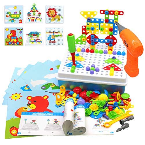 Akokie Steckspiel Montessori Spielzeug mit Bohrmaschine Pädagogisch Kreativ Spielzeug 3D Puzzle Mosaik...