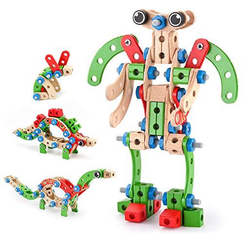 VATOS Holz Konstruktionsspielzeug, Pädagogisches Montessori Spielzeug 96 PCS Holzgebäude Spielzeug ab 3...
